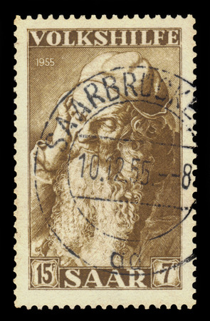albrecht: Germany, Saarland - CIRCA 1955: a stamp printed in the Saar, Germany shows painting by Albrecht Durer, head of an old man, Albertina, Vienna, circa 1955 Editorial