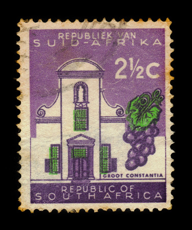 South Africa - CIRCA 1961: a stamp printed in the South Africa shows Groot Constantia, oldest wine estate and provincial heritage site in the suburb of Constantia in Cape Town, circa 1961