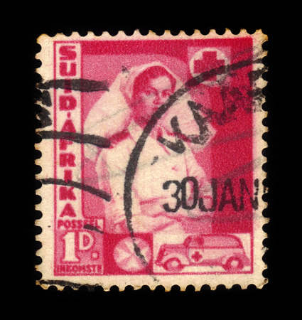 South Africa - CIRCA 1941: a stamp printed in the South Africa shows nurse and ambulance, series war effort, circa 1941 Editorial