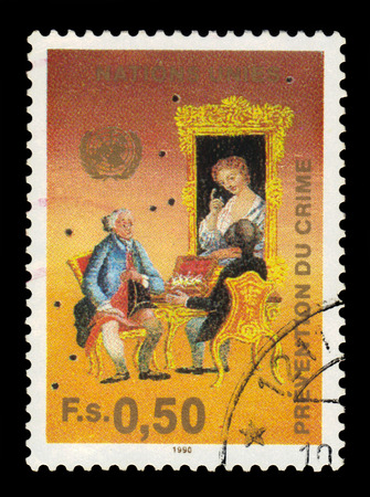 naciones unidas: United Nations, Geneva - CIRCA 1990: a stamp printed in Geneva shows people in costumes of the 18th century, dedicated to the crime fighting congress, circa 1990