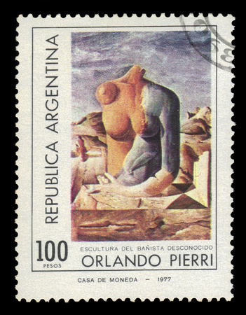 argentinean: ARGENTINA - CIRCA 1977: a stamp printed in the Argentina shows female torso, painting by Orlando Pierri, argentinean artist, circa 1977