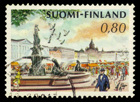 vintage voyage: FINLAND - CIRCA 1976: a stamp printed in Finland shows Market Square and Havis Amanda Fountain by Ville Vallgren in Helsinki, Finland, circa 1976