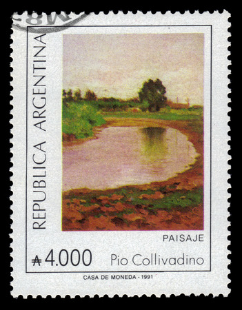 argentinean: ARGENTINA - CIRCA 1991: a stamp printed in the Argentina shows landscape, painting by Pio Collivadino, argentinean artist, circa 1991