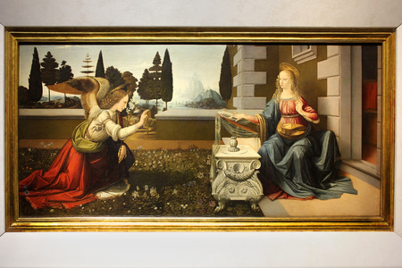 FLORENCE, ITALY - January 20, 2016: The Annunciation, painting by Leonardo da Vinci, on display at the Uffizi Gallery (Galleria degli Uffizi), Florence, Italy