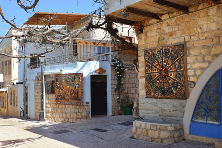 galilee: Safed, Upper Galilee, Israel - July 19: old stone house in the quarter of artists of of the old city Safed on July 19, 2016, Upper Galilee, Israel Editorial
