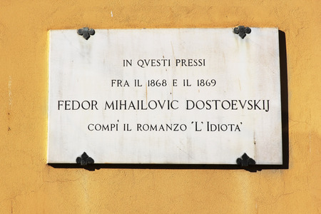 lived here: memorial plaque on the house where he lived Dostoevsky, here the writer completed his novel The Idiot, Florence, Tuscany, Italy