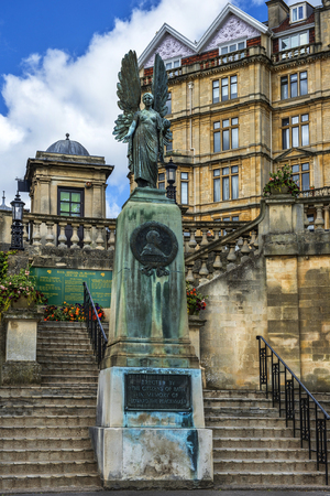 king edward: statue of angel from King Edward VII Memorial in Parade Gardens on in Bath, Somerset, England