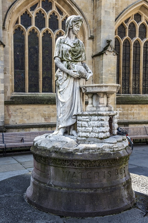 medieval landscape with old stone statue of the city Bath, Somerset, England Editorial