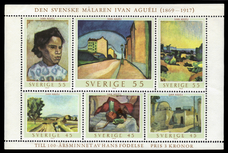 sufi: Sweden - CIRCA 1969 A souvenir sheet printed in Sweden shows paintings by Ivan Agueli, swedish wandering sufi, painter and author, circa 1969
