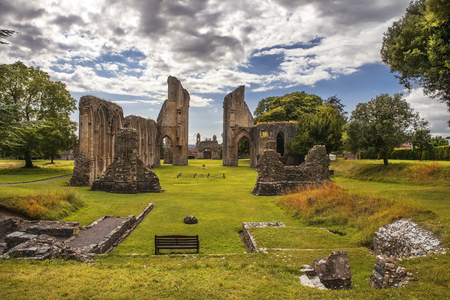 the abbot: ruins of Glastonbury Abbey, was a monastery in Glastonbury, Somerset, England Stock Photo