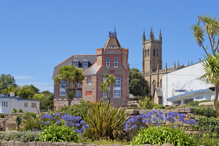 county somerset: Penzance, Cornwall, England - JULY 31: cityscape in the medieval town Penzance with PZ Gallery and St Marys Church on July 31, 2015 in Penzance, Cornwall, England Editorial
