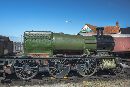 county somerset: Cornwall, England - JULY 30: old locomotive at exhibition of locomotives, Minehead Railway Station, West Somerset Railway on July 30, 2015 in Cornwall, England Editorial