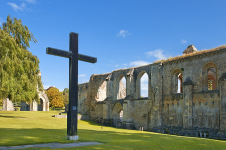 the abbot: picturesque ruins of Glastonbury Abbey, Somerset, England Stock Photo
