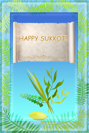 succot: Congratulation to the holiday Sukkot, palm, willow, myrtle, etrog - symbols and attributes of jewish holiday, with an inscription in english: a happy Sukkot Stock Photo
