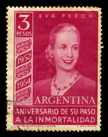 peron: Argentina - CIRCA 1954: A stamp printed in Argentina shows Eva Peron, first Lady of Argentina, circa 1954 Editorial