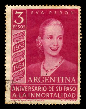 Argentine - CIRCA 1954: Un timbre imprimé en Argentine montre Eva Peron, première dame de l'Argentine, circa 1954 Banque d'images - 62798680