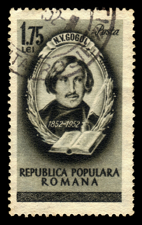 dramatist: ROMANIA - CIRCA 1952: A stamp printed in Romania shows Nikolai W.Gogol, russian writer, 100th anniversary of the death, circa 1952