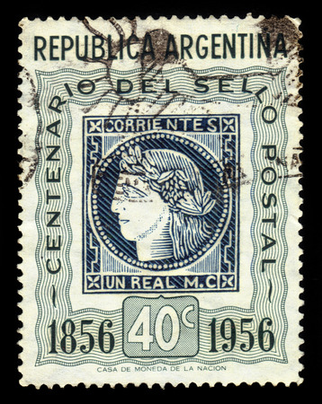 corrientes: Argentina - CIRCA 1956: A stamp printed in Argentina shows profile head of Ceres, the roman goddess of agriculture, postage stamp Corrientes province, series centenary of Argentine, circa 1956 Editorial