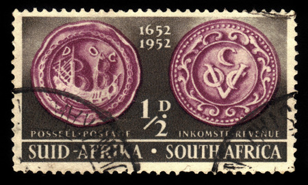 colonizer: South Africa - CIRCA 1952: a stamp printed in the South Africa shows seal of Jan van Riebeeck, dutch colonial administrator, circa 1952