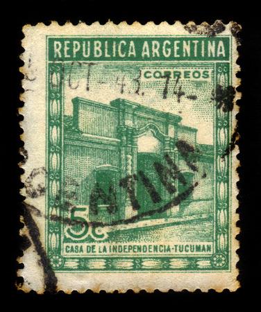 declaration of independence: Argentina - CIRCA 1943: A stamp printed in Argentina shows Casa de Tucuman, site of the Argentine declaration of independence, circa 1943