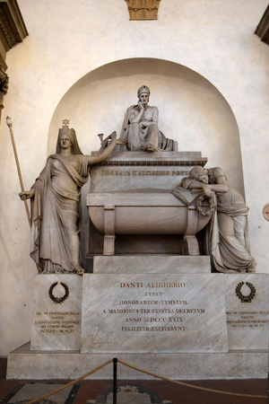 empty tomb: FLORENCE, ITALY - January 19, 2016: empty tomb of Dante Alighieri in Santa Croce basilica on january 19, 2016, Florence, Italy