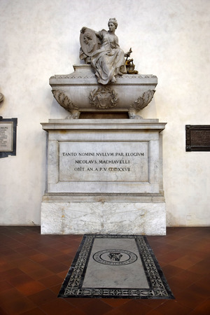 humanist: FLORENCE, ITALY - January 19, 2016: tomb of Niccolo Machiavelli, italian renaissance philosopher in Santa Croce basilica on january 19, 2016, Florence, Italy Editorial