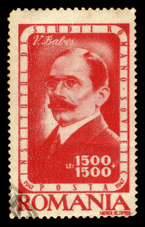 babes: ROMANIA - CIRCA 1947: A stamp printed in Romania shows portrait of Victor Babes, romanian physician, bacteriologist, academician and professor, series, circa 1947