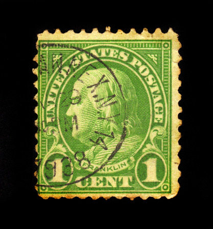 USA - CIRCA 1923: a stamp printed in the United States of America shows Benjamin Franklin,  one of the Founding Fathers of the United States, 6th President of Pennsylvania, circa 1923