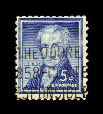 USA - CIRCA 1954: a stamp printed in the United States of America shows James Monroe, fifth President of the United States, circa 1954 Editorial