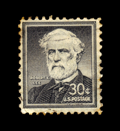 commanding: USA - CIRCA 1955: a stamp printed in the United States of America shows Robert Edward Lee, american general, commanding the Confederate Army of Northern Virginia in the American Civil War, circa 1955