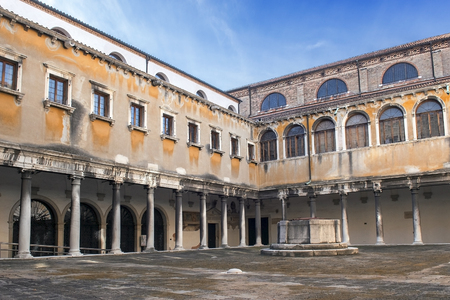 stephen: inner courtyard of convent of Santo Stefano, Church of St. Stephen in Venice Editorial