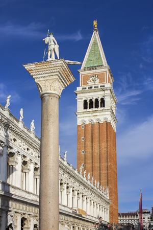 procuratie: column of St Theodore and campanile, Piazzetta di San Marco, Venice