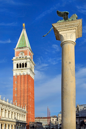 procuratie: column of Lion of Venice and campanile, Piazzetta di San Marco, Venice Editorial