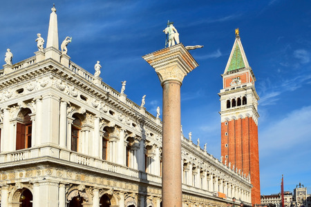 column of St Theodore and campanile, Piazzetta di San Marco, Venice