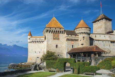 chillon: Castle Chillon (Chateau de Chillon) at Lake Geneva in Montreux, Switzerland
