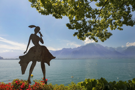 montreux: MONTREUX, SWITZERLAND - September 02: modern sculpture on the shores of Lake Geneva in Montreux, Switzerland on September 02, 2016