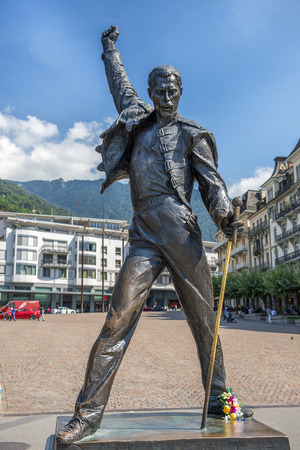 montreux: MONTREUX, SWITZERLAND - September 02: Freddie Mercury statue on waterfront of Geneva lake, made by czech sculptor Irena Sedlecka in Montreux, Switzerland on September 02, 2016