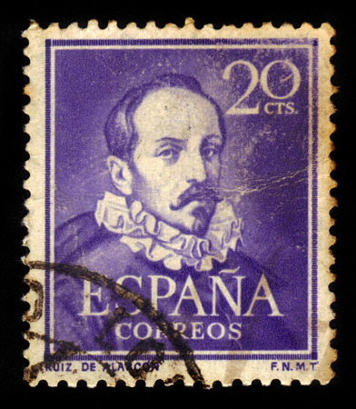national poet: SPAIN, CIRCA 1950: stamp printed in Spain , showing portrait Juan Ruiz de Alarcon y Mendoza (1580 - 1639). Playwright is one of the leading figures of Spanish theater of Golden Age, circa 1950