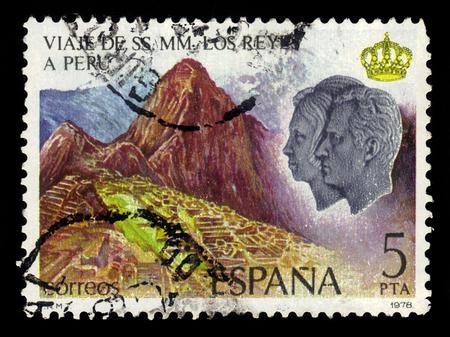 SPAIN, CIRCA 1978: stamp printed in Spain , shows Machu Picchu,  portraits of King Juan Carlos and Queen Sofia, Royal Visit to Peru, circa 1978 Editorial