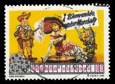 bienvenido: SPAIN, CIRCA 1996: stamp printed in Spain , shows Bienvenido Dr. Marshall, a 1953 spanish comedy film directed by Luis Garcia Berlanga, one of the masterpieces of spanish cinema, circa 1996