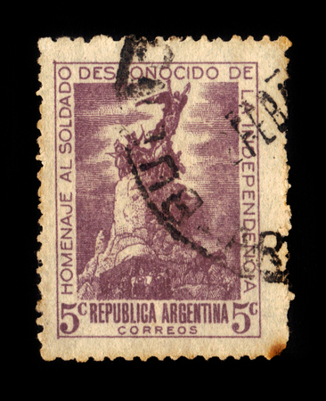 gloria: Argentina - CIRCA 1946: A stamp printed in Argentina shows Monument to the Army of the Andes,  city of Mendoza, Argentina, at the General San Martin Park, circa 1946