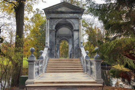 Marble (Palladian) bridge or Siberian Marble Gallery in Catherine park, Tsarskoye Selo (Pushkin), architect V. Neyelov, neighborhood of Saint-Petersburg, Russia