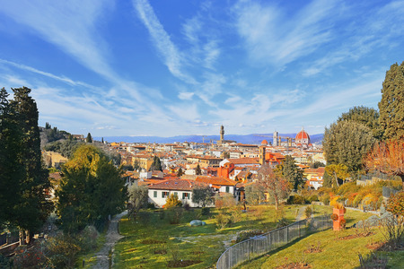 panoramic view of old Florence from a sweet rose garden on the outskirts of the city on a bright sunny day, Tuscany, Italy Stock Photo