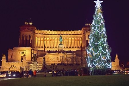 Piazza Venezia with the monument of Victor Emmanuel and altar of the fatherland  in the night before christmas, Rome, Italy