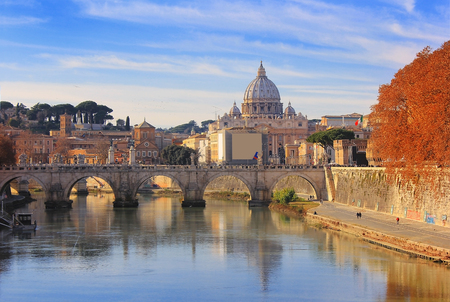 castel: autumn landscape with view at Vatican City and SantAngelos Bridge , Rome, Italy