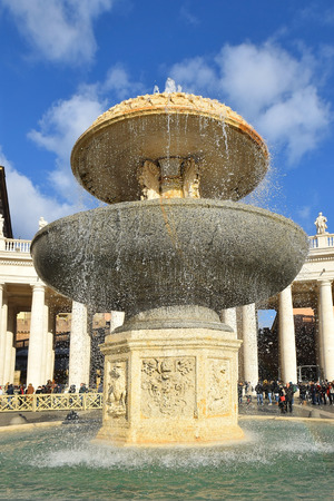 maderno: one of the two fountains in St. Peter Square at the Vatican, Rome
