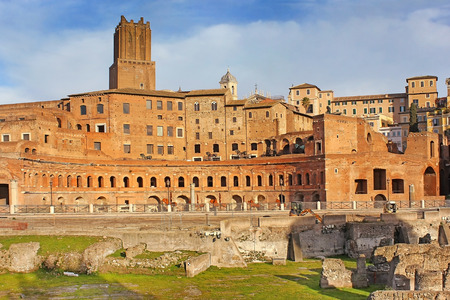 ancient ruins on the Trajans Forum in Rome, Italy
