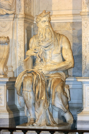 vincoli: famous sculpture - Moses by Michelangelo, located in San Pietro in Vincoli basilica, Rome,Italy