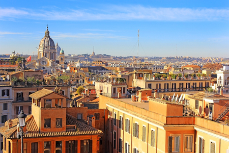 view of the historical center of Rome from the height of the Pincian Hill, Italy Stock Photo