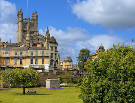 BATH, ENGLAND - JULY 28: cityscape with a view of Cathedral in the background  on July 28, 2015 in Bath, Somerset, England